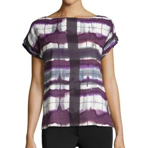 Alice + Olivia Silk Purple Print Short Sleeve Top